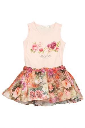 Нарядное платье с пышной юбкой Vitacci. Цвет: розовый