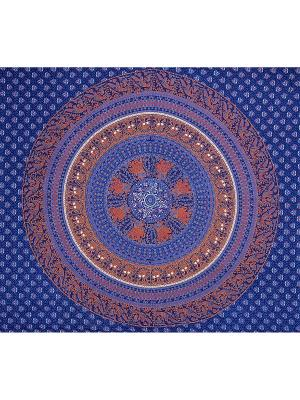 Покрывало декоративное набивное ETHNIC CHIC. Цвет: синий, лазурный, светло-коралловый