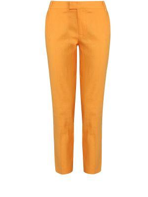 Брюки Oodji. Цвет: светло-коричневый, оранжевый