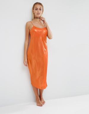 ASOS Комбинация миди в стиле 90-х с эффектом металлик Naomi. Цвет: оранжевый