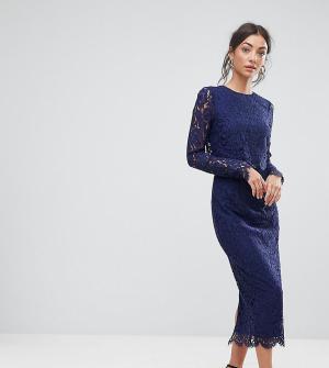 ASOS Tall Кружевное платье-футляр с длинными рукавами WEDDING. Цвет: темно-синий