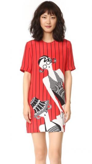 Платье-футболка с принтом Holly Fulton. Цвет: красный