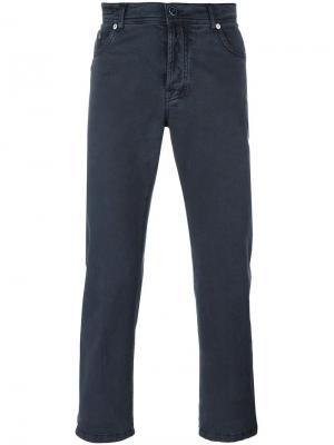 Узкие брюки Kiton. Цвет: синий