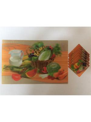 Набор плейсматов 3D,28x42см-6шт, 10x10см-6шт Dream time. Цвет: оранжевый, зеленый
