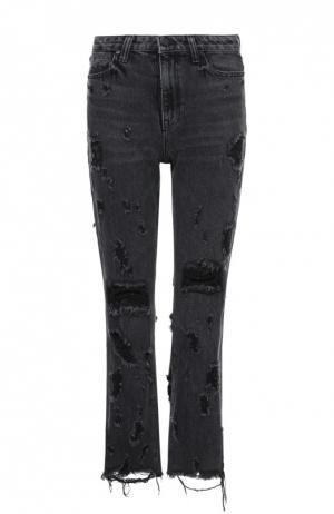 Укороченные расклешенные джинсы с потертостями и бахромой Denim X Alexander Wang. Цвет: серый