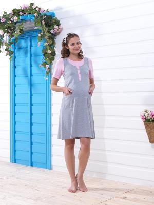 Платье для беременных BlackSpade. Цвет: серый, розовый