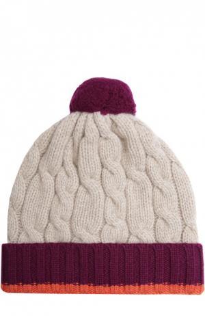 Кашемировая шапка фактурной вязки с помпоном Johnstons Of Elgin. Цвет: бордовый