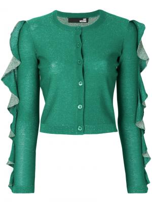 Ruffle sleeve sparkly knit cardigan Love Moschino. Цвет: зелёный