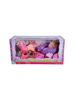 Лошадь+карета для Штеффи, 47см, 4/4 Simba. Цвет: розовый, фиолетовый