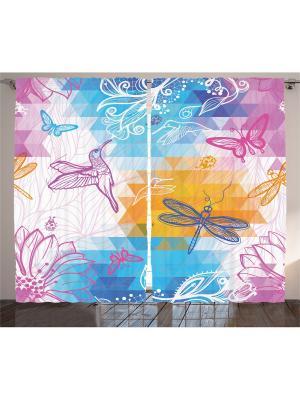 Комплект фотоштор из полиэстера высокой плотности Колибри, стрекозы и бабочки, 290*265 см Magic Lady. Цвет: голубой, желтый, розовый