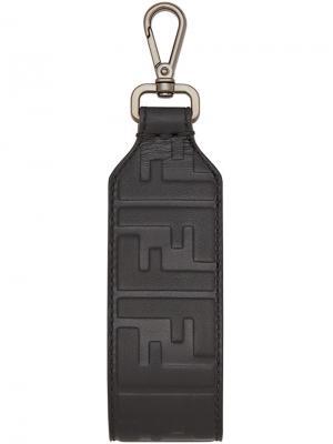 Брелок для ключей с тиснением логотипа Fendi. Цвет: чёрный