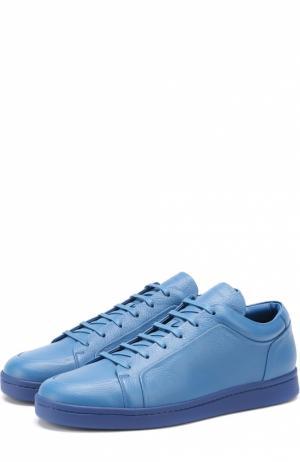 Кожаные кеды на шнуровке Balenciaga. Цвет: синий