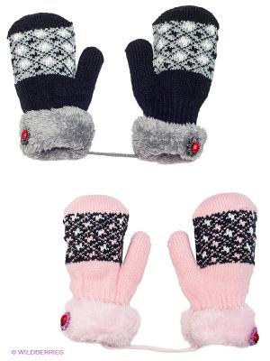Варежки, 2 пары FOMAS. Цвет: черный, розовый