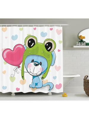 Фотоштора для ванной Разноцветные совы, щенок играет, фея у цветущего дерева, киви-велосипед, 180x Magic Lady. Цвет: зеленый, бежевый, белый, голубой, розовый