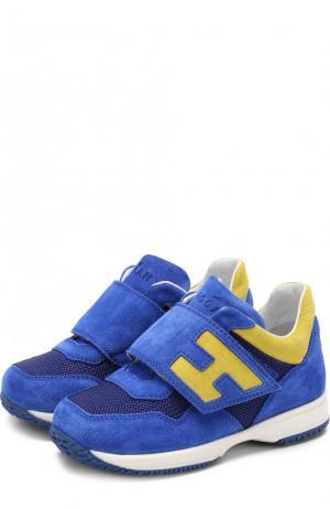 Замшевые кроссовки с застежками велькро Hogan. Цвет: синий
