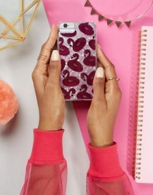 Skinnydip Чехол для iPhone 6/6S/7 с блестками и фламинго. Цвет: мульти