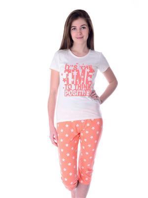 Пижама Малина. Цвет: оранжевый, белый