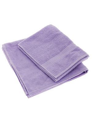 Набор из 2х махровых полотенец сиреневый - 50*90, 70х140, УзТ-НПМ-102-05 Aisha. Цвет: сиреневый
