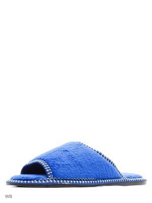Тапочки женские из текстильных материалов. BRIS. Цвет: лазурный
