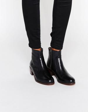 Hudson London Кожаные ботильоны на молнии и каблуке H By Plath. Цвет: черный