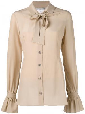 Рубашка с завязками на шее Cherevichkiotvichki. Цвет: телесный