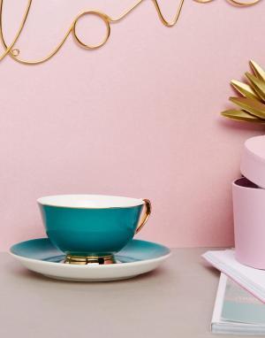 Bombay Duck Сине-зеленая чашка с блюдцем. Цвет: мульти