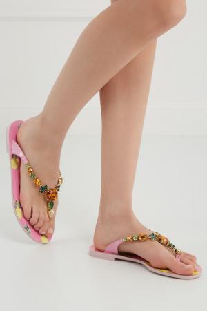 Сандалии с кристаллами Dolce&Gabbana. Цвет: розовый