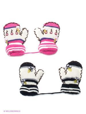 Варежки, 2 пары FOMAS. Цвет: черный, белый, розовый