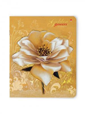 Тетрадь 48л.  цветы. золото 5 видов Альт. Цвет: бежевый