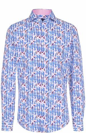 Хлопковая сорочка с принтом Jacques Britt. Цвет: голубой