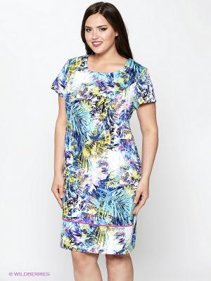 Платье Amelia Lux. Цвет: синий, желтый