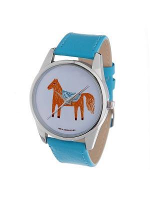 Часы Mitya Veselkov Лошадка карандашами. Цвет: голубой