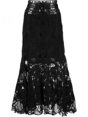 Кружевная юбка миди Jonathan Simkhai. Цвет: чёрный