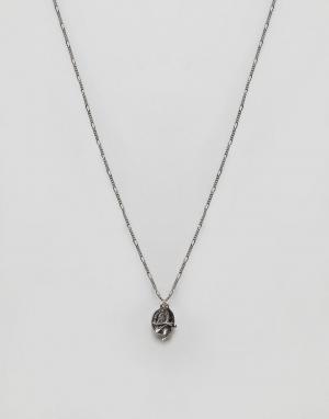 ASOS Серебристое ожерелье с подвесками в виде монетки и ласточки. Цвет: серебряный