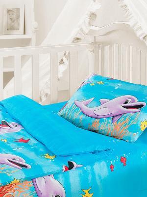 Комплект постельного белья Дельфины Волшебная ночь. Цвет: голубой