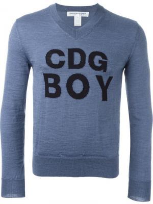 Джемпер с логотипом в технике интарсия Comme Des Garçons Shirt Boys. Цвет: синий