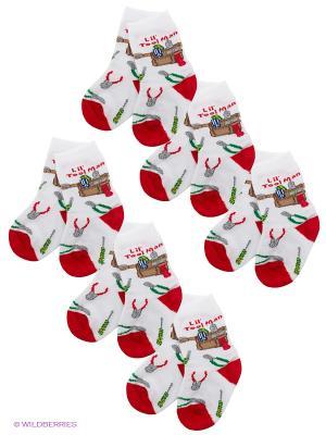 Носки, 6 пар Nirey. Цвет: белый, красный