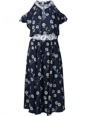 Платье с цветочным принтом Derek Lam 10 Crosby. Цвет: синий
