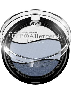 Тени для век трехцветные гипоаллергенные Bell Hypoallergenic Triple Eyeshadow , Тон 03. Цвет: светло-серый, серо-голубой, синий