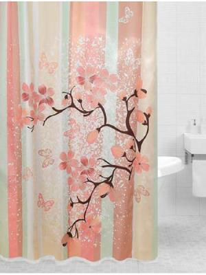 Штора для ванной SAKURA (Сакура) 180*200 Bath Plus. Цвет: салатовый, бежевый, оранжевый