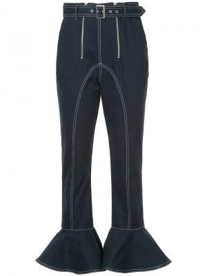 Джинсовые брюки с расклешенными манжетами Self-Portrait. Цвет: чёрный