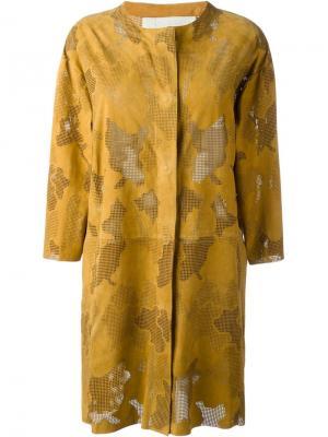 Перфорированное пальто Drome. Цвет: жёлтый и оранжевый