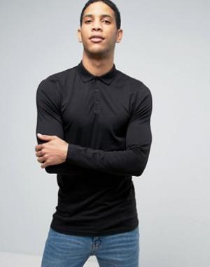 ASOS Черная длинная обтягивающая футболка-поло. Цвет: черный
