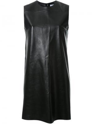 Кожаное платье-шифт Scanlan Theodore. Цвет: чёрный
