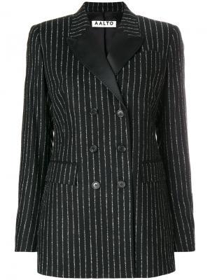 Двубортный пиджак в тонкую полоску Aalto. Цвет: чёрный
