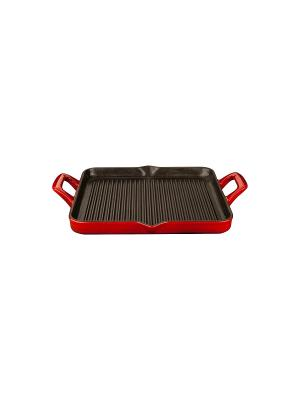 Сковорода LA CUISINE гриль 29*26см красная 7100. Цвет: красный