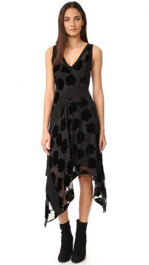 Платье с V-образным вырезом и рубчатыми вставками DKNY. Цвет: голубой