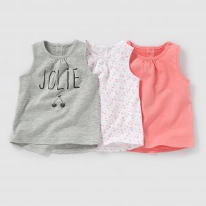 3 майки, 1 мес. - года R édition. Цвет: серый меланж + розовый + белый