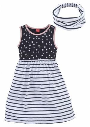 Комплект, 2 части: платье + лента для волос KIDOKI. Цвет: темно-синий/белый