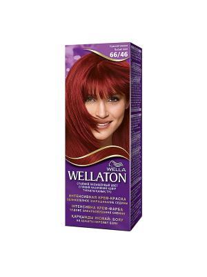 Крем-краска для волос стойкая 66/46 Красная вишня WELLATON. Цвет: фиолетовый